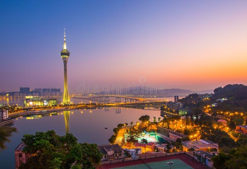 Vista di tramonto dell'orizzonte della città di Macao fotografia stock