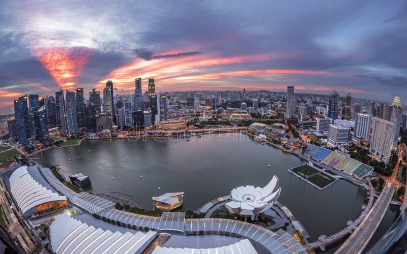 Vista di tramonto della città di Singapore immagini stock