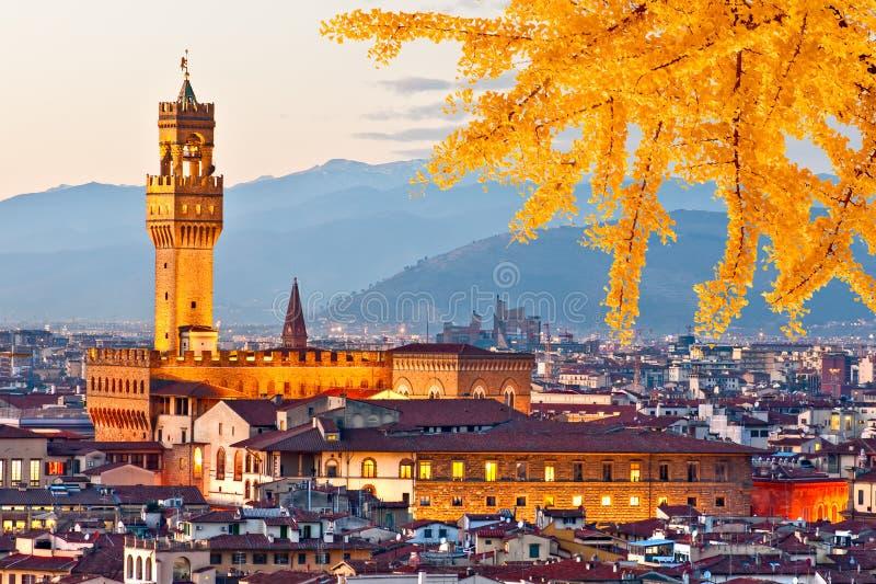 Vista di tramonto di Palazzo Vecchio, Firenze immagini stock