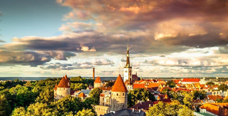 Vista di tramonto sopra i tetti medievali di Tallinn in Estonia immagini stock libere da diritti