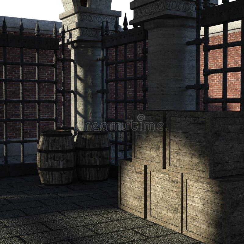 Vista di un magazzino di pietra costruito nello XVIII secolo Dentro il magazzino con le merci e le scatole giorno royalty illustrazione gratis