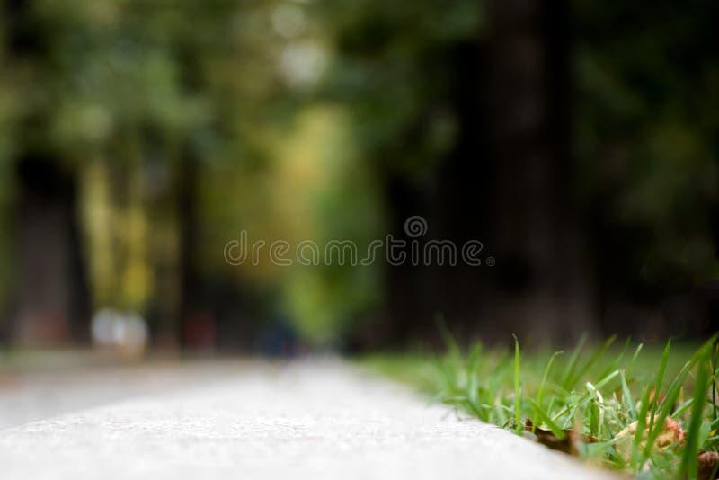 Vista di un marciapiede vago, vista del primo piano dal livello del bordo fotografie stock