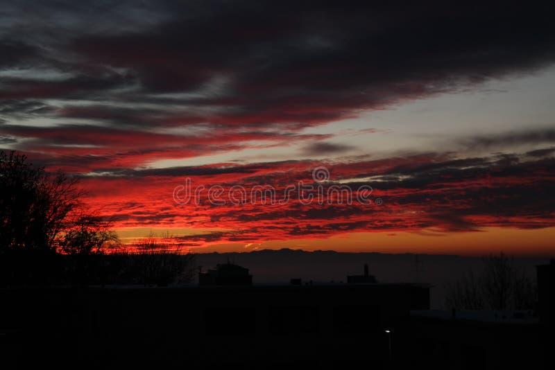 Vista di un tramonto magico fotografia stock