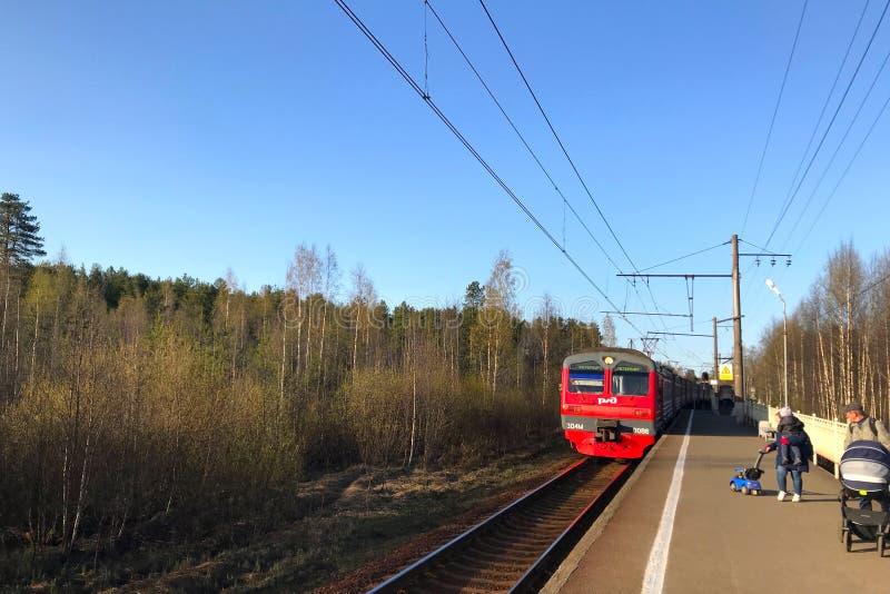 Vista di un treno elettrico rosso delle ferrovie russe che si avvicinano al binario nella periferia fotografia stock libera da diritti