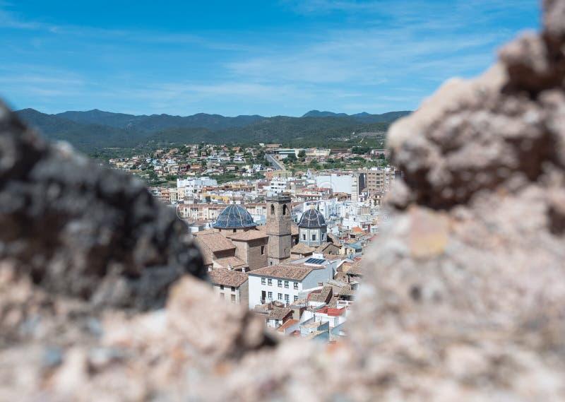 Vista di un villaggio Mediterraneo fotografia stock