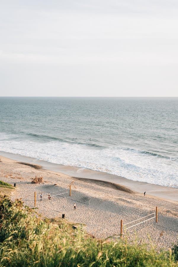 Vista di una spiaggia da Leslie Park a San Clemente, contea di Orange, California fotografia stock