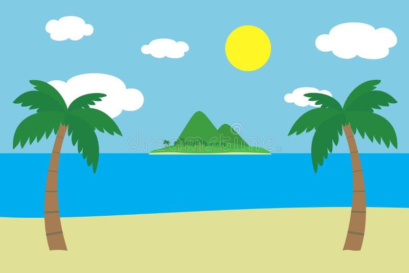 Vista di una spiaggia sabbiosa tropicale con due palme for Aprire le planimetrie con una vista