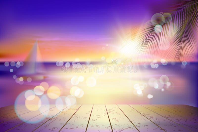 Vista di una spiaggia tropicale con una barca a vela Tramonto Illustrazione di vettore royalty illustrazione gratis