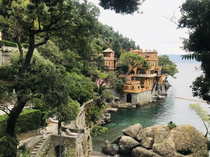 Vista di una villa in Portofino immagine stock libera da diritti