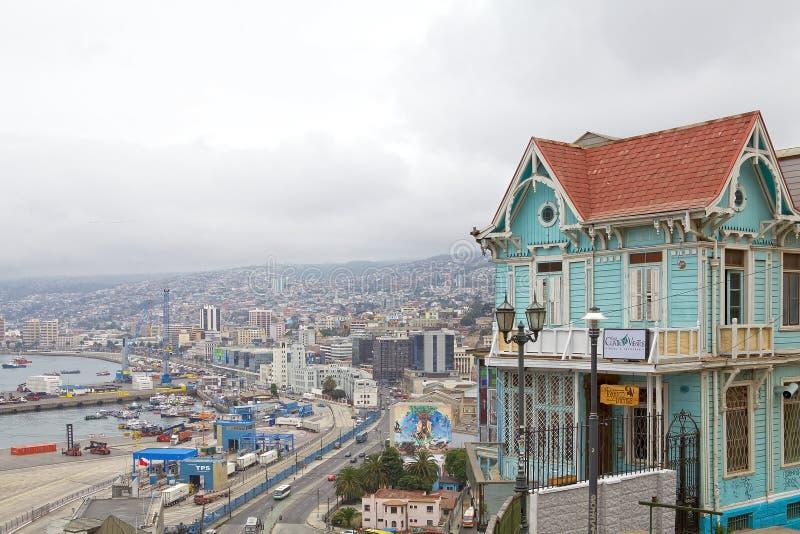 Vista di Valparaiso, Cile fotografia stock