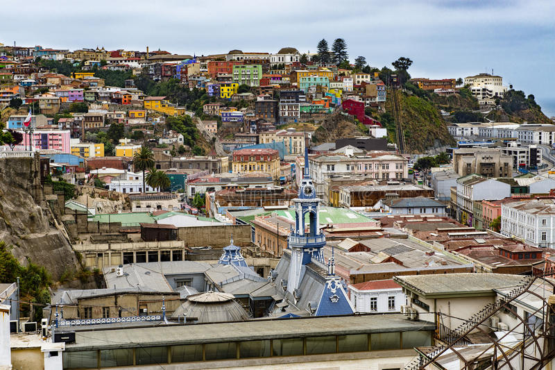 Vista di Valparaiso, nel Cile fotografie stock