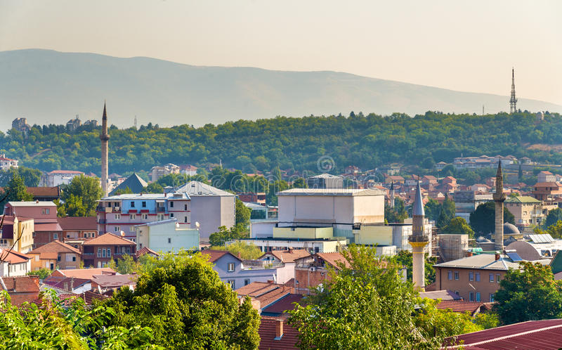 Vista di vecchia città di Skopje fotografia stock libera da diritti