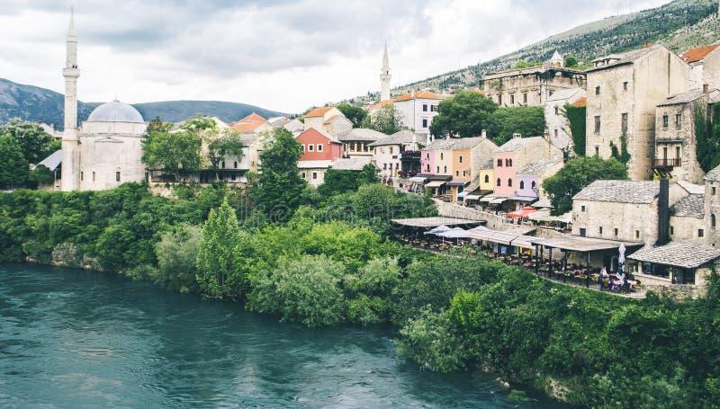 Vista di vecchia città Mostar Bosnia-Erzegovina immagine stock