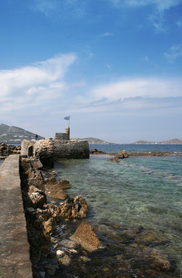 Vista di vecchia fortificazione - isola di Paros, Grecia fotografia stock