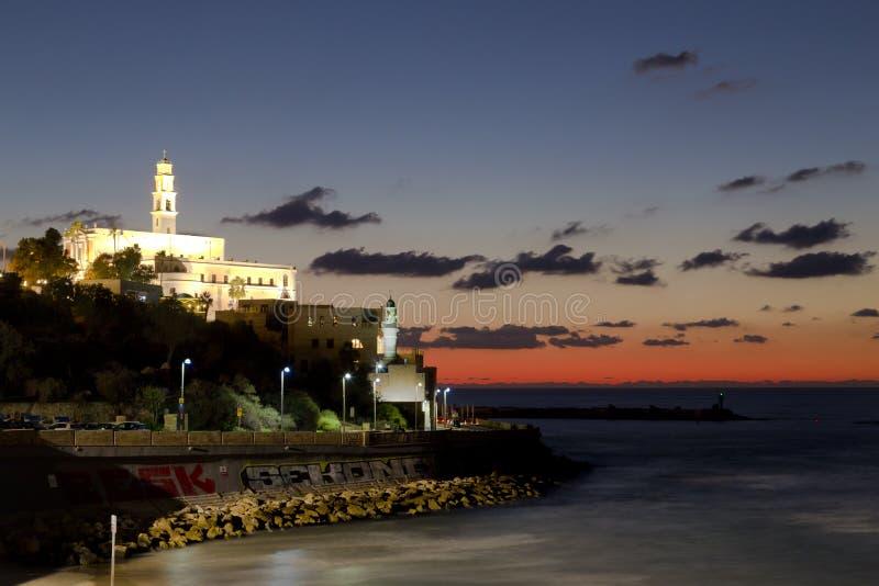 Vista di vecchia Giaffa, sulla costa Mediterranea al tramonto fotografie stock libere da diritti