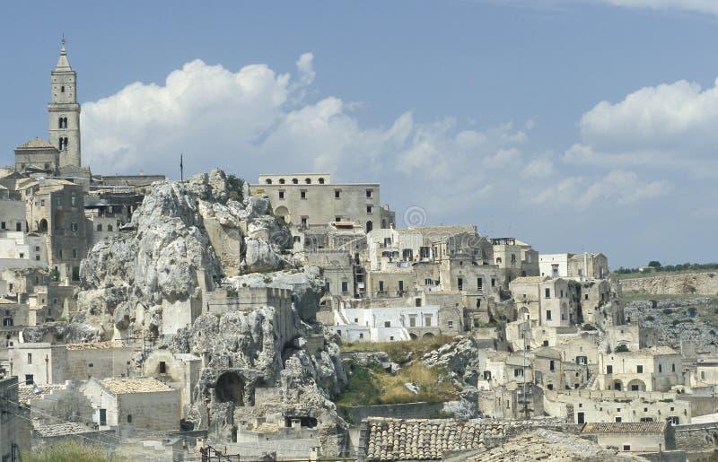 Vista di vecchia parte di Matera, Italia immagini stock libere da diritti