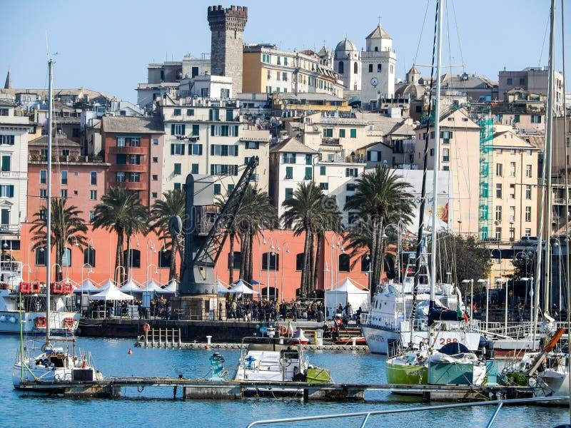 Vista di vecchio porto di Oporto Antico di Genova, Italia fotografia stock libera da diritti