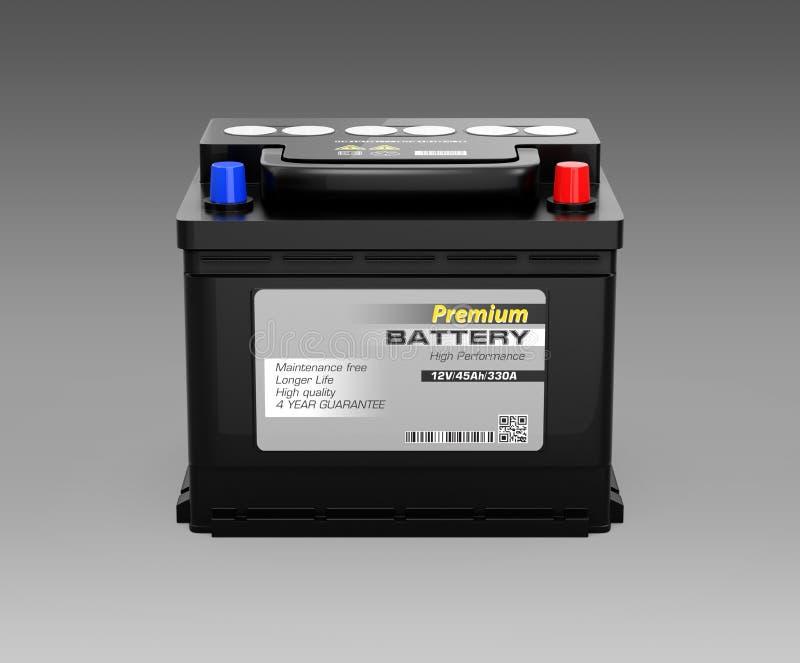 Vista dianteira da bateria de carro livre de manutenção genérica no fundo preto ilustração royalty free