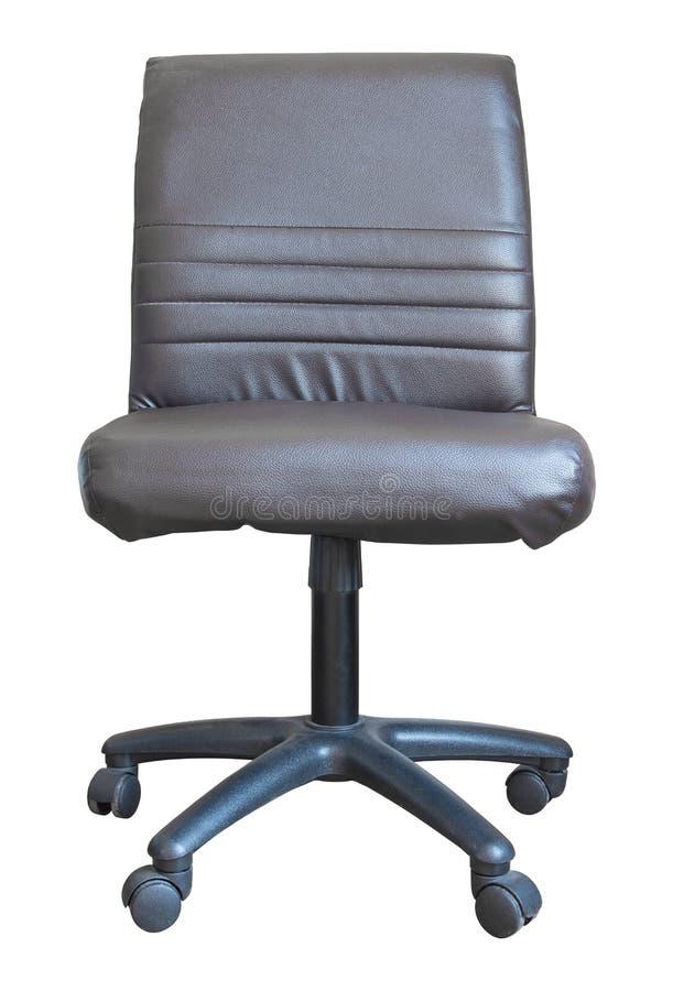 Vista dianteira da cadeira de couro do escritório isolada no branco foto de stock