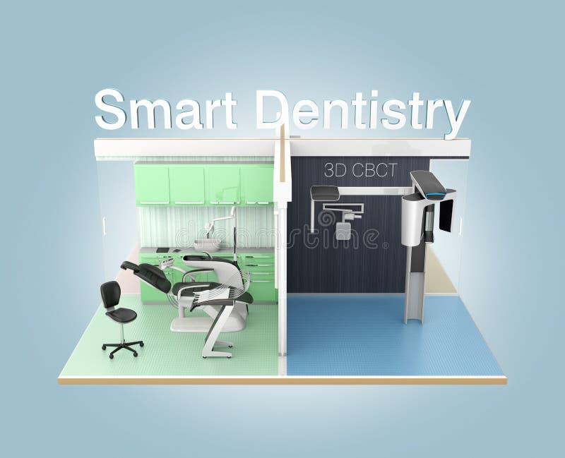 Vista dianteira da clínica dental com 'texto da odontologia esperta' ilustração royalty free