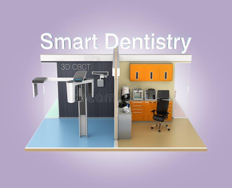 Vista dianteira da clínica dental com 'texto da odontologia esperta' ilustração do vetor