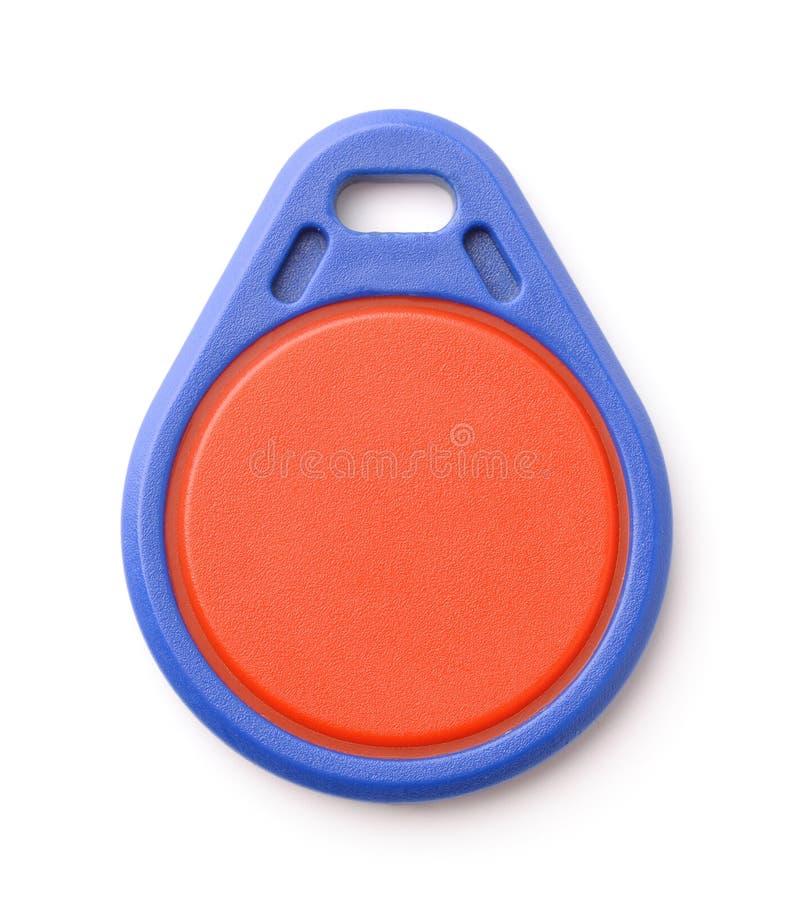 Vista dianteira da corrente de relógio chave plástica azul do RFID imagem de stock