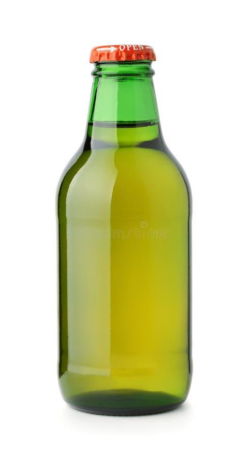 Vista dianteira da garrafa de cerveja de vidro pequena foto de stock