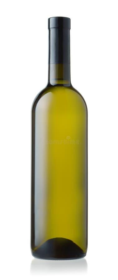 Vista dianteira da garrafa de vinho branco foto de stock royalty free