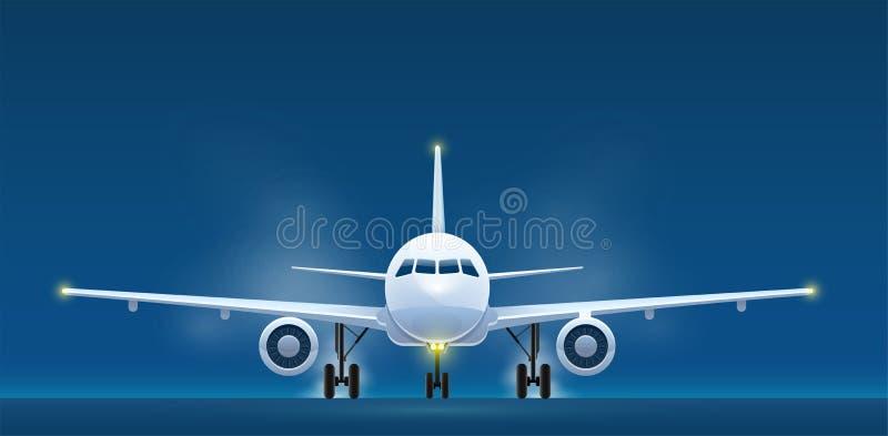 Vista dianteira de aviões de passageiro da aterrissagem ilustração do vetor