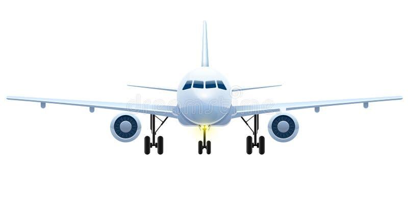 A vista dianteira de aviões de passageiro da aterrissagem isolou o vetor ilustração do vetor