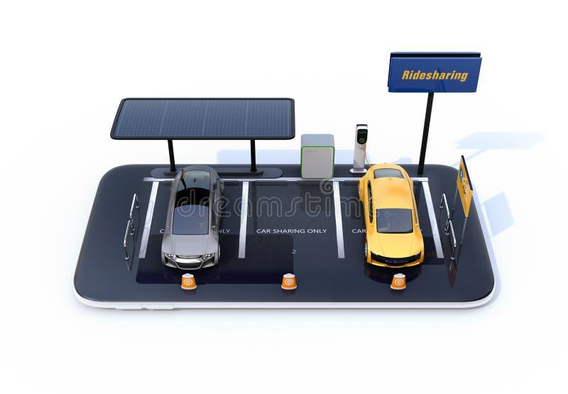 Vista dianteira de carros bondes com painéis solares, estações de carregamento e bateria no smartphone ilustração stock