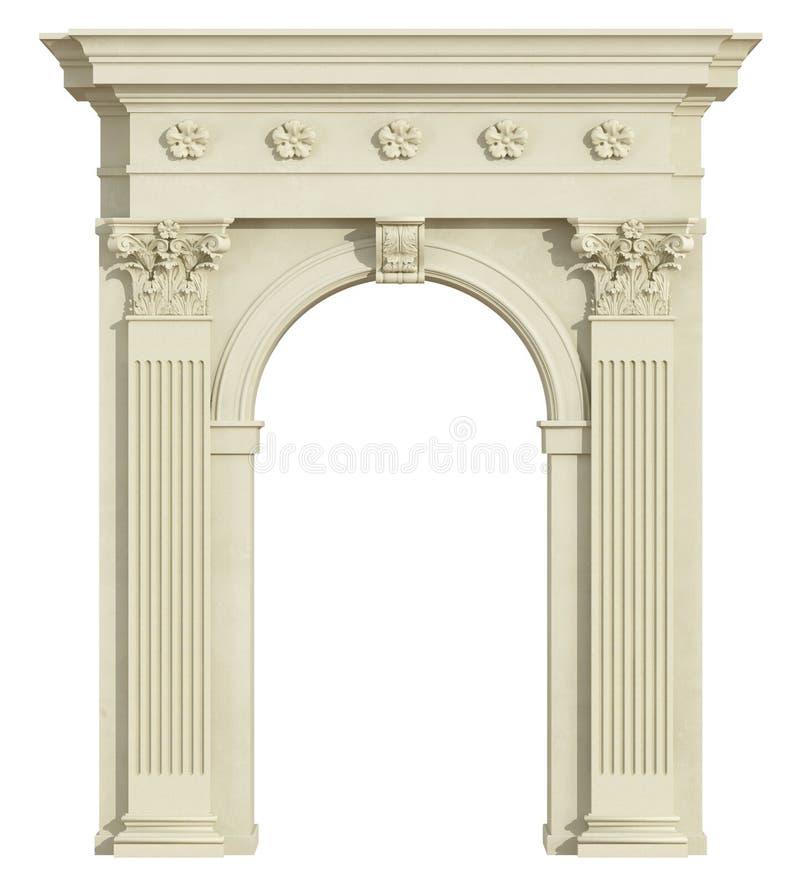 Vista dianteira de um arco clássico com coluna do Corinthian ilustração stock