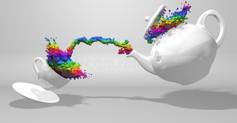 Vista dianteira de um bule branco que derrama um pulverizador da pintura com as cores do arco-íris a um copo branco que espirra o ilustração royalty free
