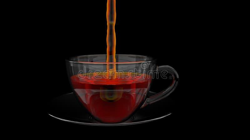 Vista dianteira de um jato do líquido que enche um copo de vidro completamente do chá no prato de vidro no fundo preto ilustração royalty free