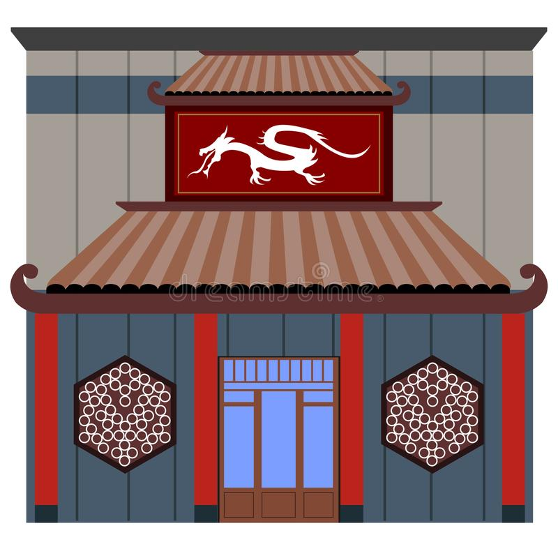 Vista dianteira de um restaurante chinês ilustração stock