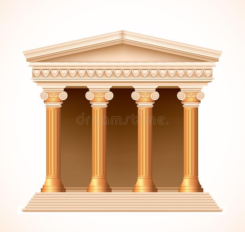 Vista dianteira de um templo grego antigo do ouro Vetor ilustração royalty free