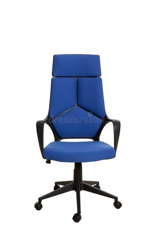 Vista dianteira de uma cadeira moderna do escritório, feita do plástico preto, upho fotografia de stock royalty free