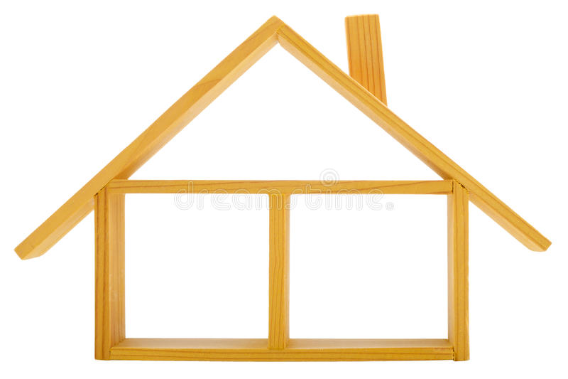 Casa de madeira isolada com um assoalho e um telhado imagem de stock royalty free