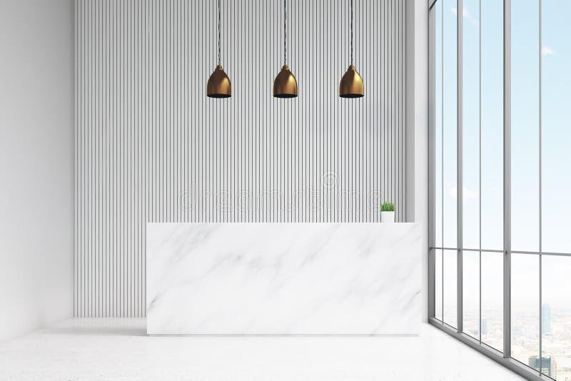 Vista dianteira de uma mesa de recepção branca que está em um salão do escritório Há três lâmpadas acima dele e de uma janela pan ilustração royalty free