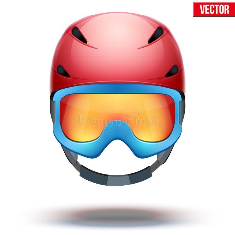 Vista dianteira do capacete e do azul vermelhos clássicos do esqui ilustração royalty free
