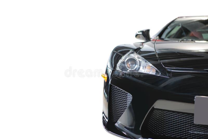 Vista dianteira do carro de motor luxuoso colorido atrativo brilhante preto fotos de stock