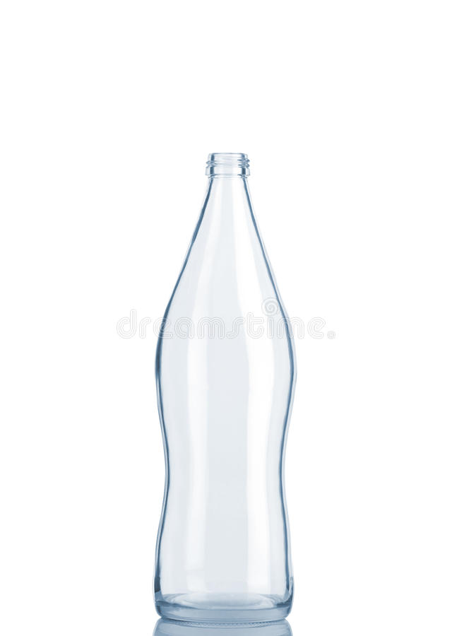 Vista dianteira do frasco de vidro transparente foto de stock