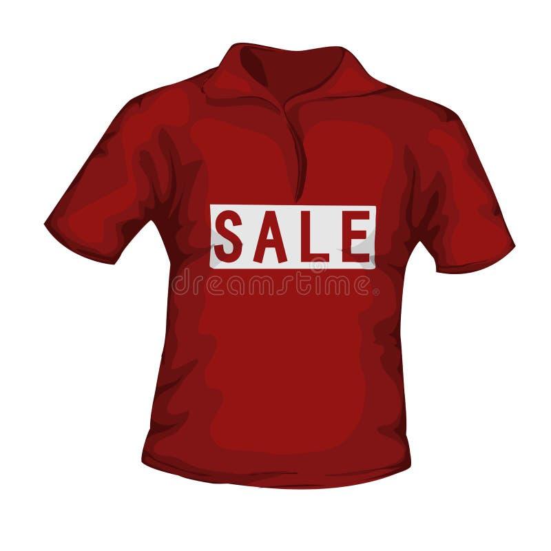 Vista dianteira do t-shirt masculino da cor vermelha com texto da venda no CCB branco ilustração stock