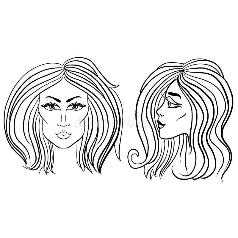 Vista dianteira e lateral da cara da mulher com cabelo bonito Ilustração preto e branco do vetor ilustração do vetor