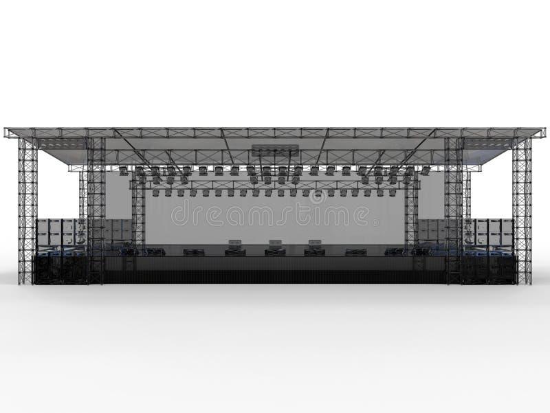 Vista dianteira - grande outdoorstage vazio ilustração stock