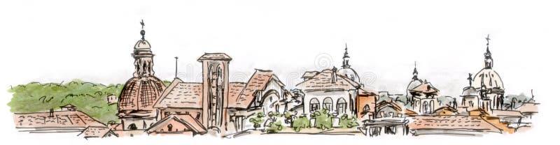 Vista dipinta dei tetti di Roma, acquerello illustrazione di stock