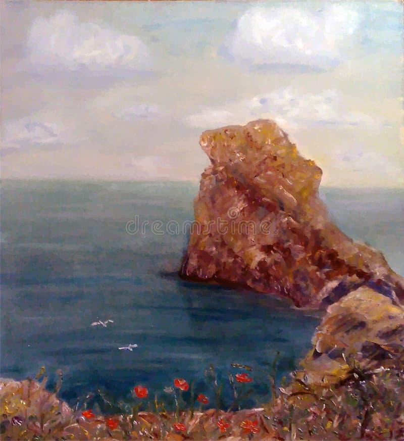 Vista dipinta del mare, roccia, costa illustrazione vettoriale