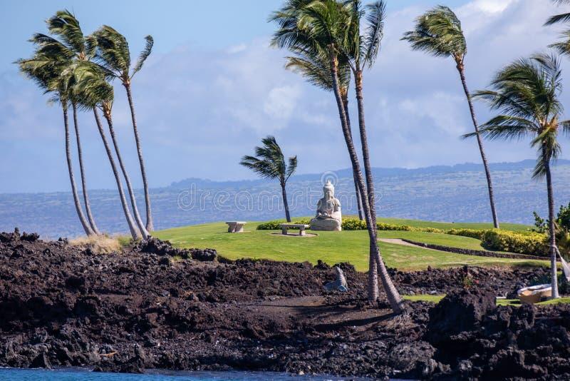 Vista distante ad una statua di Buddha ad una riva dell'oceano Pacifico, Hawai, grande isola fotografia stock libera da diritti