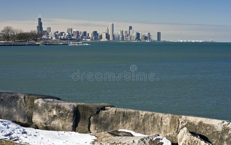Vista distante de Chicago céntrica imagen de archivo