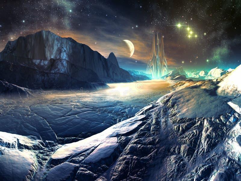 Vista distante della città futuristica di Aiien sull'inverno Wo illustrazione vettoriale